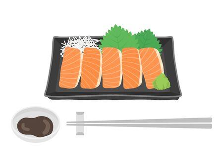 Illustration of salmon sashimi 일러스트