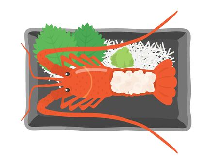 Illustration of ise shrimp sashimi