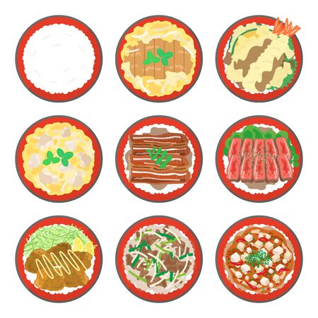 Rice Bowl Illustration Set
