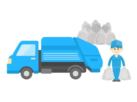 Illustration of collecting garbage in a garbage truck