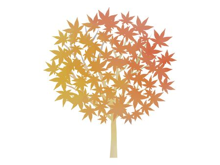 Watercolor illustration of autumn leaves tree  イラスト・ベクター素材