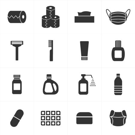 Icons set for daily necessities and consumables