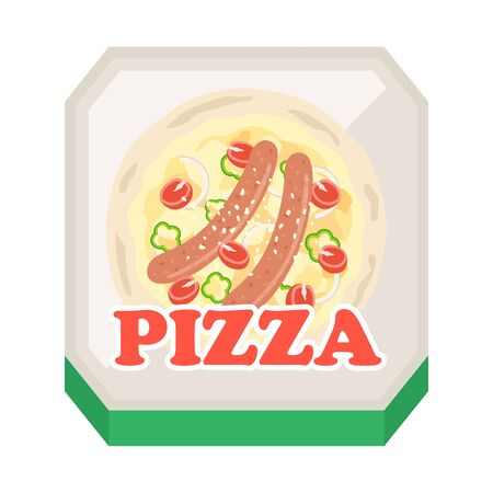 Illustration of pizza in a box