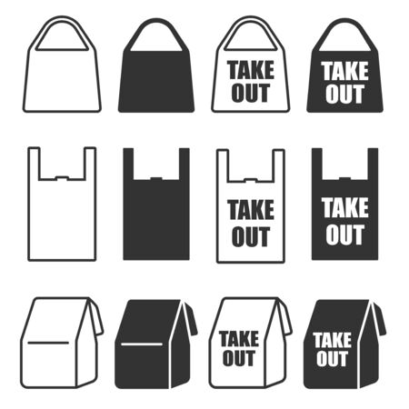 Bag icon illustration set for take-out