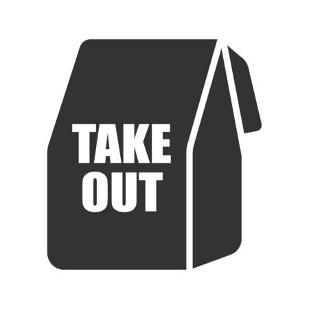 Icon illustration of paper bag for take-out