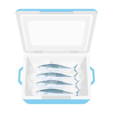 Illustration of mackerel in a cooler box Иллюстрация