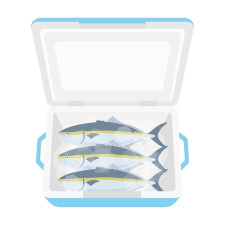 Illustration of salmon in cooler box 일러스트