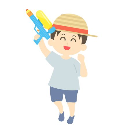 Illustration of a boy playing with a water gun