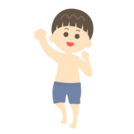 Illustration of a boy playing in a swimsuit