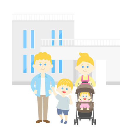 Illustration of a white family and my home Ilustrace