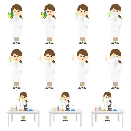 Asian Female Scientist's Illustration Set