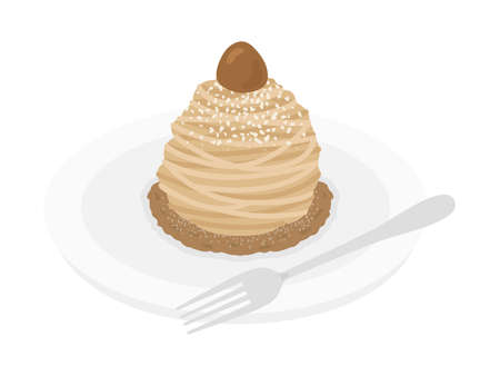 Illustration of Mont Blanc cake on a plate