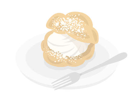 Illustration of cream puffs on a plate