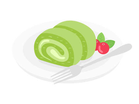 Illustration of matcha roll cake on a plate Stock Illustratie