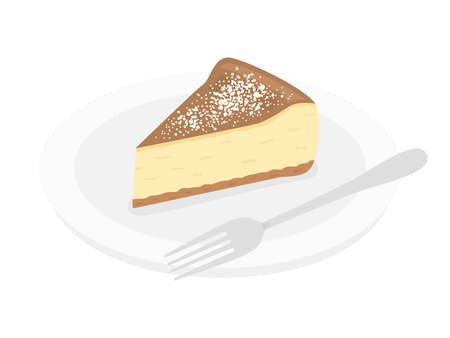 Illustration of cheese cake on a plate Stock Illustratie
