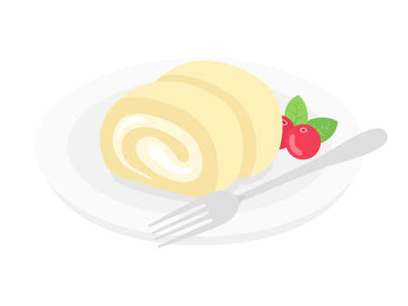 Illustration of a roll cake on a plate