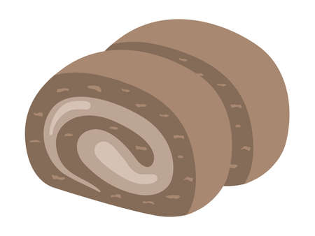 Illustration of cut chocolate roll cake