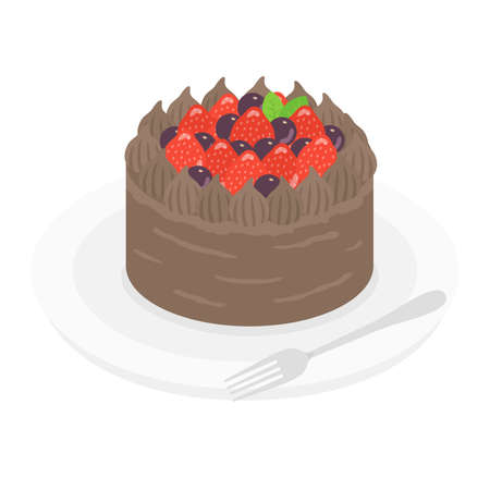 Illustration of chocolate cake on a plate