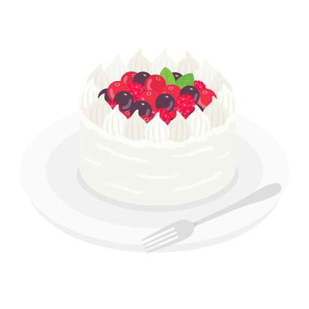 Illustration of a berry cake on a plate Stock Illustratie