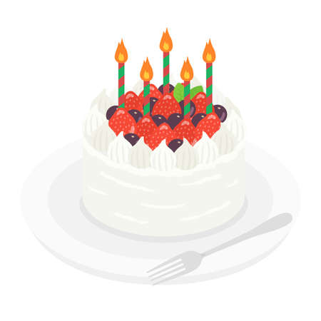Illustration of a birthday cake on a plate Stock Illustratie