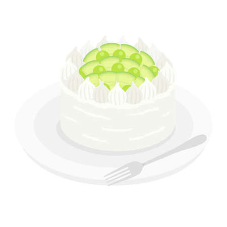Illustration of melon cake on a plate