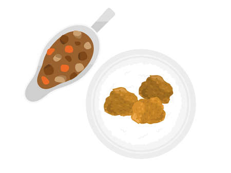 Illustration of fried chicken curry and rice