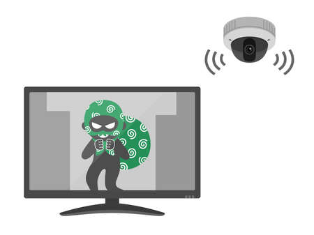 Illustration of an empty nest reflected on a security camera