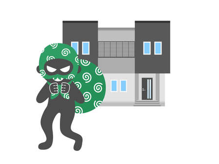 Illustration of a thief who broke into a house Illustration