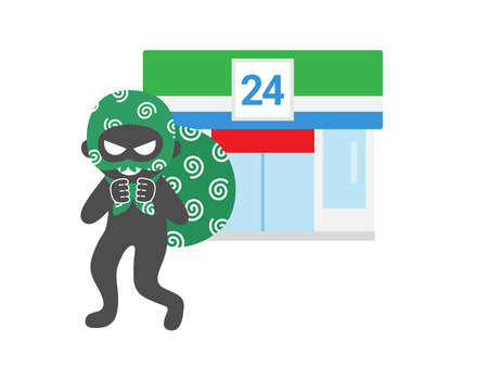 Illustration of a thief who broke into a convenience store Illustration