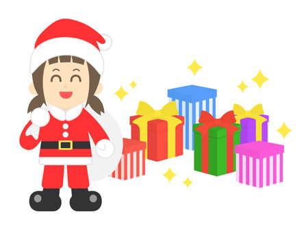 Illustration of Santa Claus girl