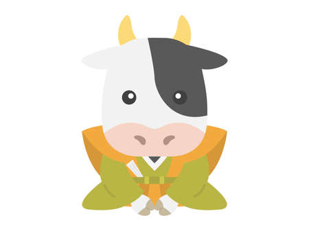Illustration of a cow bowing in a kimono