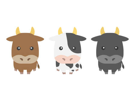 Illustration set of the character of the cow