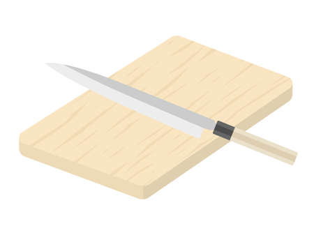 Illustrations of cutting boards and kitchen knives