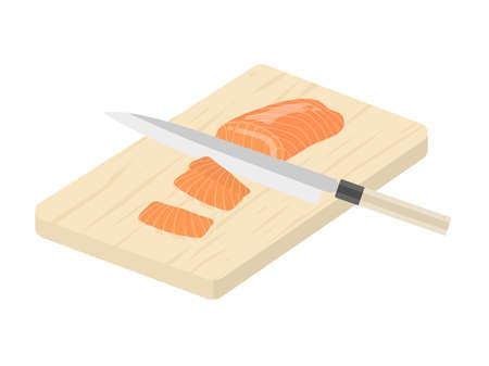 Illustration of cutting a salmon fillet with a kitchen knife Illusztráció