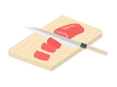 Illustration of cutting a tuna cut with a kitchen knife