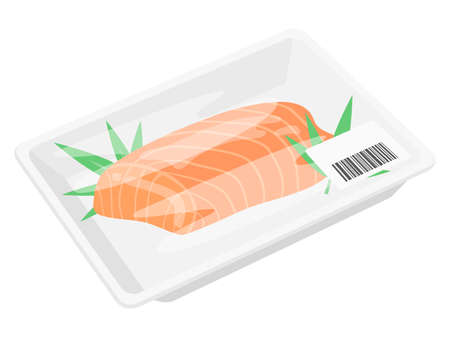 Illustration of fillet of salmon in a pack