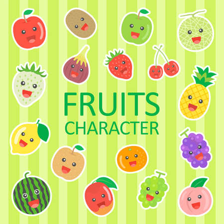 Illustration set of fruit characters