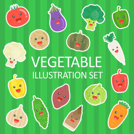 Illustration set of vegetable characters