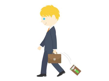 Illustration of a white man dropping a pass case Illusztráció