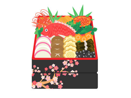 Illustrations of gorgeous traditional Japanese New Year foods