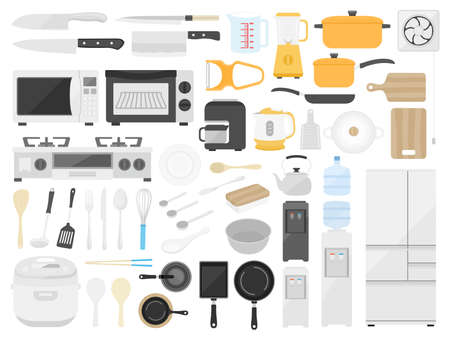 Illustration set of kitchen goods Vettoriali