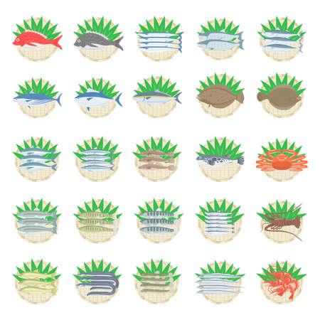 Illustrated set of fish
