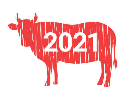 Illustration of a cow's stamp 向量圖像