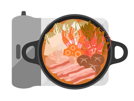 Illustrations of kimchi hot pot dishes Ilustrace