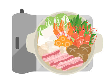 Illustration of hot pot dishes