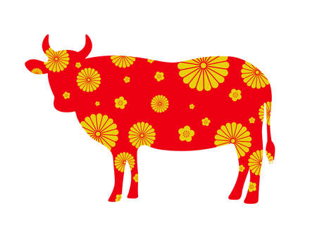 Silhouette illustration of a Japanese-patterned cow