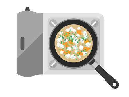 Illustration of miso soup in a pot