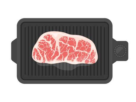 Illustration of grilling steak on a hot plate