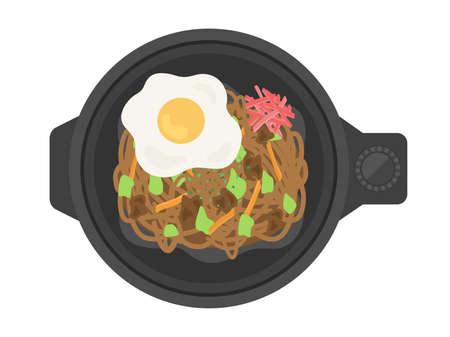 Illustration of making yakisoba on a hot plate Ilustrace