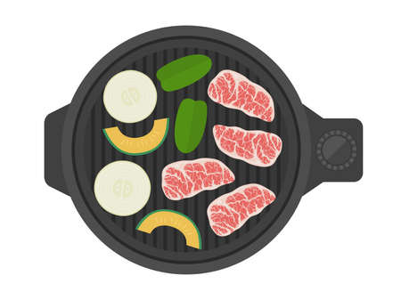 Illustration of grilled meat on a hot plate